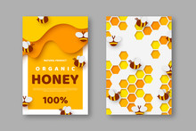 Paper Cut Style Posters With Bee And Honeycomb. Typographic Design For Beekeeping And Honey Product. Vector Illustration.