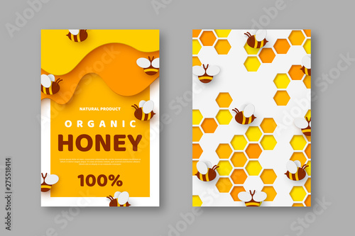 Paper cut style posters with bee and honeycomb Fototapeta