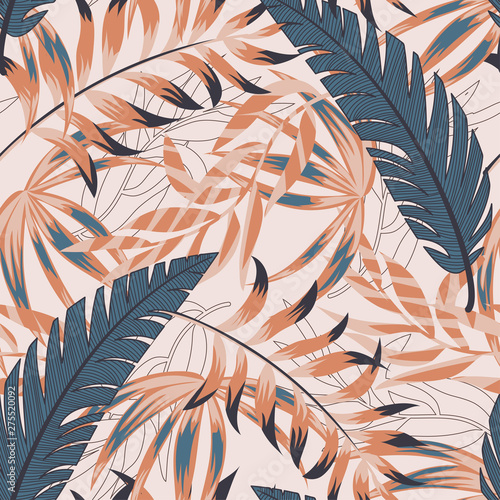 Printed kitchen splashbacks Watercolor Nature Trendy bright seamless pattern with colorful tropical leaves and plants on pastel background. Vector design. Jungle print. Floral background. Printing and textiles. Exotic tropics. Summer design.