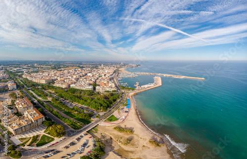 View of the coastline Cambrils, Costa Dourada, Catalonia, Spain. Drone aerial panorama