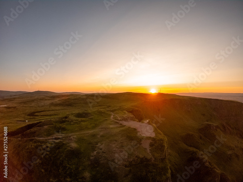 Fototapety, obrazy: Colorful sunset at Cave Hill Country Park Belfast, Northern Ireland. Aerial view on City and hills