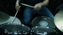 Drummer Playing On Drums In Studio. Close Up. View From Above. Slow Motion Effect