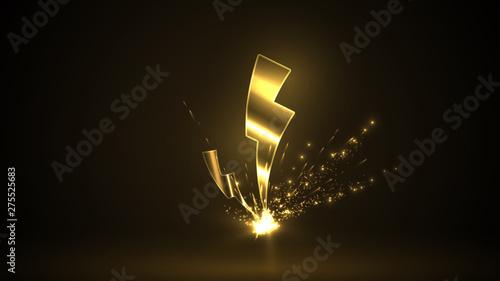 Cuadros en Lienzo yellow lightning strikes on dark background