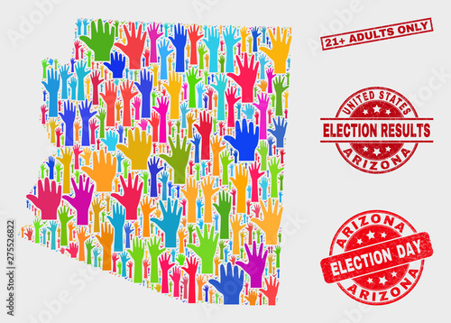 Map Of Arizona Only.Ballot Arizona State Map And Seal Stamps Red Rectangle 21 Adults