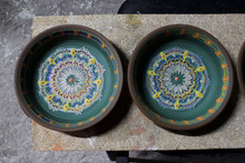 Large Plates Decorates A Clay ...