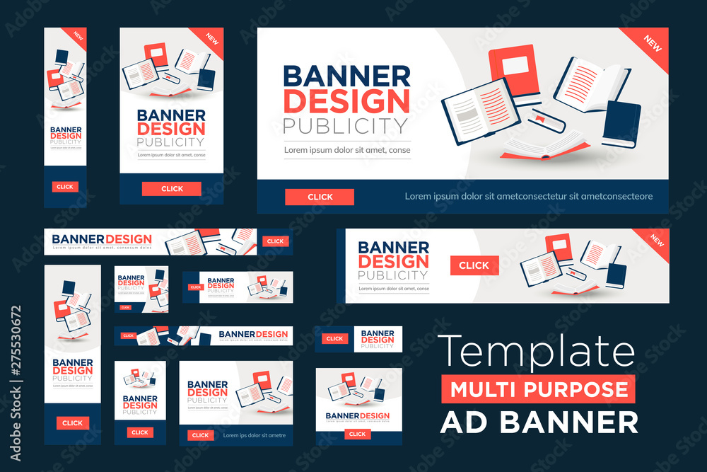 Fototapety, obrazy: Web Banner Template in multiple sizes