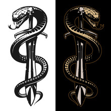 Snake And Sword Tattoo Illustr...