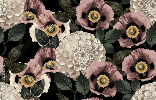 Leinwand Poster  Elegant seamless pattern of blush toned rustic roses in black background great for textile print, background, handmade card design, invitations, wallpaper, packaging, interior or fashion designs