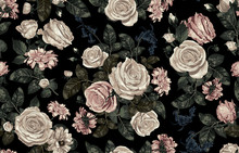 Elegant Seamless Pattern Of Blush Toned Rustic Roses In Black Background Great For Textile Print, Background, Handmade Card Design, Invitations, Wallpaper, Packaging, Interior Or Fashion Designs.