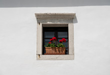 White Painted Wall Around A Simple Square Window With Flower Box And Red Flowers