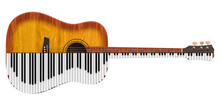 Acoustic Guitar And Piano. Music Duet Concept, 3D Rendering