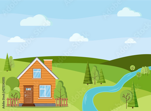 Summer or spring river landscape scene with rural country farm house with chimney, fences, green trees, spruces, fields, clouds in flat cartoon style. Summer nature vector background illustration.