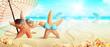 Strand Motiv mit Seestern und Muscheln