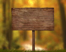 Old Weathered Wood Signboard With Single Pole And Autumn Forest Background