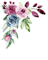 FototapetaWatercolor flowers, border with roses and leaves. Botanical drawing, arrangement for wedding card, invitation, greeting, background, blog etc. Floral vintage illustration isolated on white.