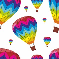 Vector illustration seamless pattern with air balloons