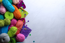 Composition With Colorful Yarn On Light Background