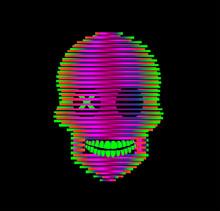 Robot Skull Neon Gradient Colors, Vector. Illustration