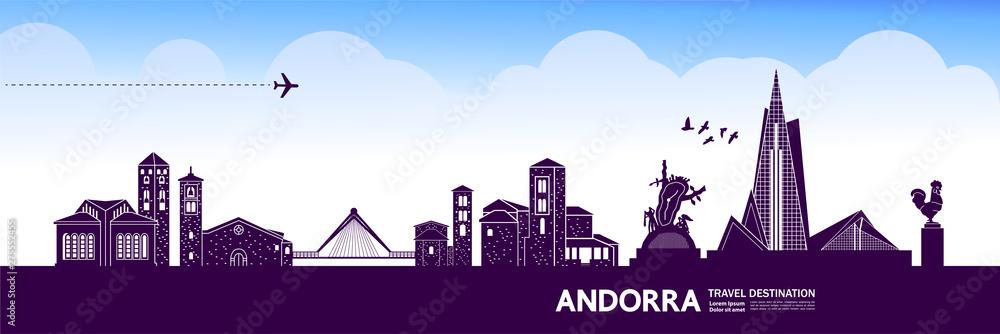 Fototapeta Andorra travel destination grand vector illustration.
