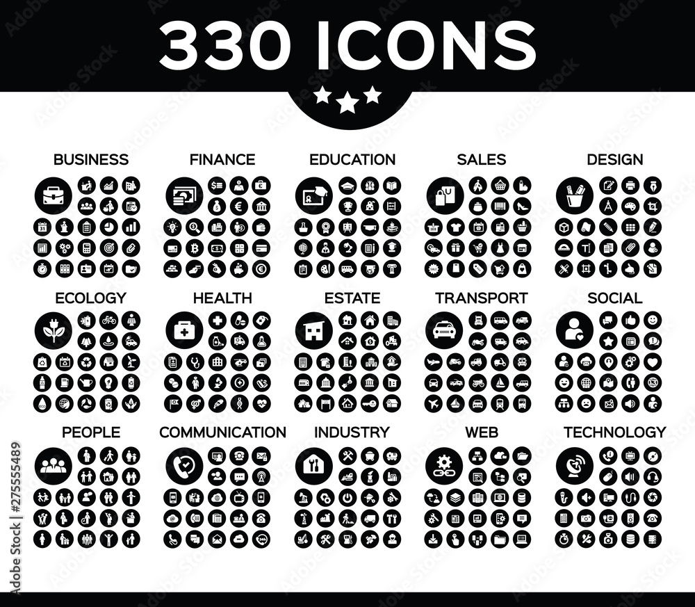 Fototapety, obrazy: Pack of 330 icons with 15 different categories vector collection icon.