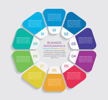 Infographic Design Vector And Marketing Icons Can Be Used For Workflow Layout, Diagram, Annual Report, Web Design.  Business Concept With 10 Options, Steps Or Processes. - Vector