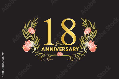 18 Years anniversary gold watercolor wreath vector Canvas Print