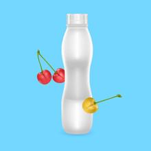 3D White Yogurt Plastic Bottle, Realistic Bottle With Cherry Drinking Yogurt, Vector EPS 10 Illustration