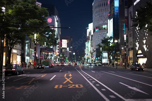 銀座の風景・夜の銀座の街