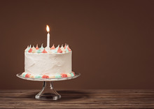 White Birthday Cake With Candle