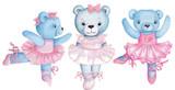 Fototapeta Fototapety na ścianę do pokoju dziecięcego - Watercolor illustration of three dancing teddy bears in pink ballet dresses.