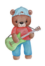 Watercolor Hand Drawn Illustration Of Cute Cartoon Teddy Bear With Guitar.