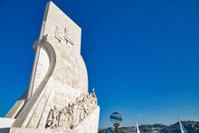 Lisbon, Portugal- May 17, 2019: Monument Of The Discoveries (Padrao Dos Descobrimentos) On The Northern Bank Of The Tagus River
