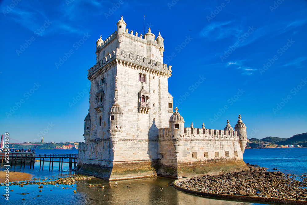 Fototapety, obrazy: Lisbon, Belem Tower at sunset on the bank of the Tagus River