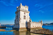 canvas print picture - Lisbon, Belem Tower at sunset on the bank of the Tagus River