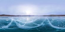 Cracks On Smooth Ice Lake Baikal. Spherical 360 180 Vr Panorama