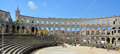 The Pula Arena is the famous Roman amphitheater in Pula, Istria, Croatia, Europe. It was constructed in 27 BC–68 AD.