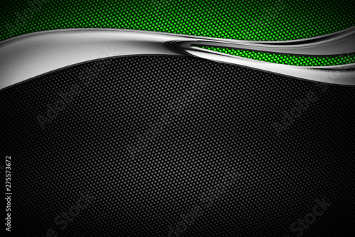 carbon fiber and curve chromium frame. metal background. Canvas Print