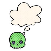 Cartoon Skull And Thought Bubb...