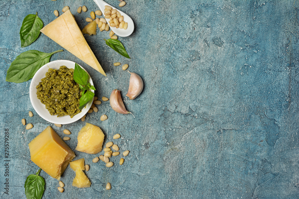 Fototapety, obrazy: Top view of ingredients for pesto sauce