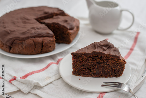 home made healthy chocolate beet root cake on a table