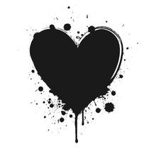 Black Grunge Heart Isolated On White Background.