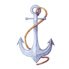 Watercolor Vector Illustration Of Anchor. Blue Anchor With Rope. Anchor Isolated On White Backdrop