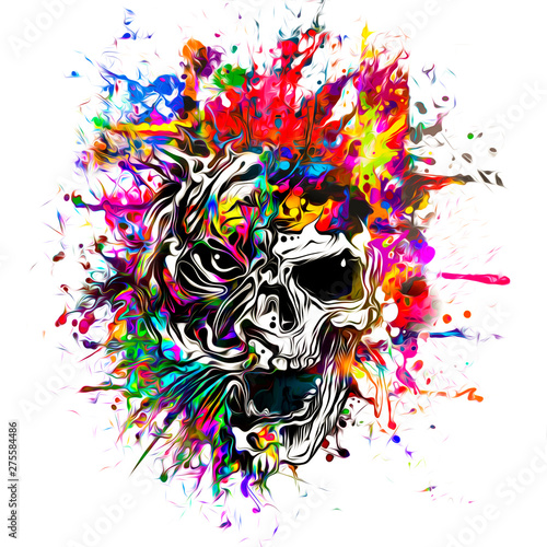 Skull and tiger on colored background