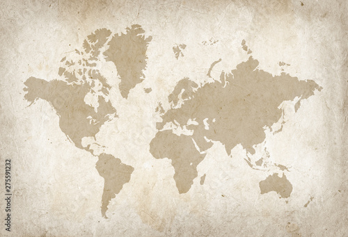 Fototapeta Vintage world map on old parchment paper obraz