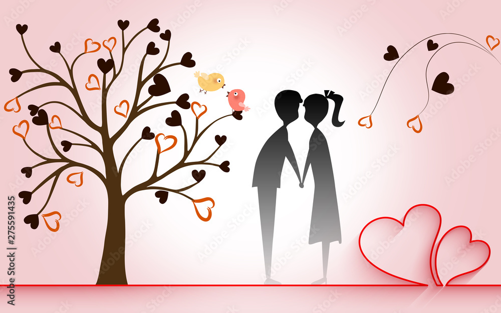 Fototapety, obrazy: Romantic illustration, pink background, long red ribbon in the shape of two hearts, a curved tree with hearts a boy and a girl hold hands