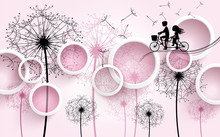3d Illustration, Light Pink Background, White Rings, Black And Pink Dandelions With Flying Seeds, The Silhouette Of A Boy And A Girl On A Bicycle