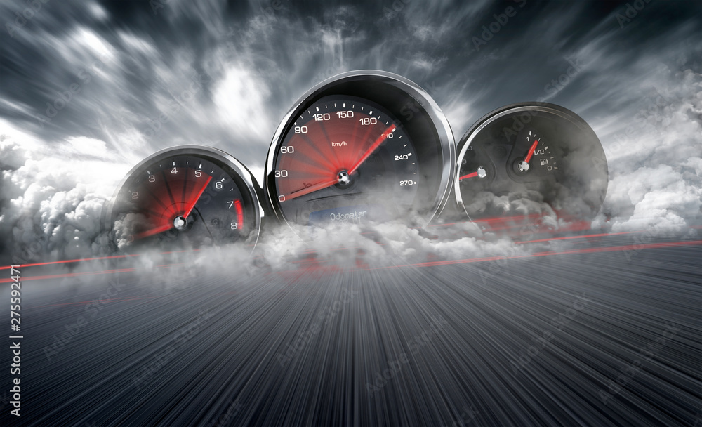 Fototapeta Speedometer scoring high speed in a fast motion blur racetrack background. Speeding Car Background Photo Concept.