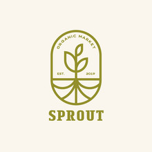 Sprout With Roots Modern Line, Emblem Logo Design Vector