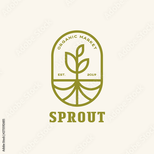 Canvas Sprout with Roots modern line, Emblem logo design vector