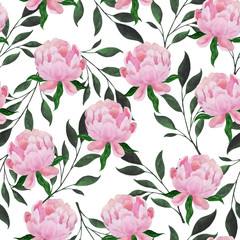 Panel Szklany Podświetlane Peonie Watercolor seamless pattern of peonies and plant branches.